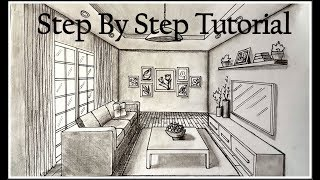 How to draw A Living Room In One Point Perspective| Step By Step