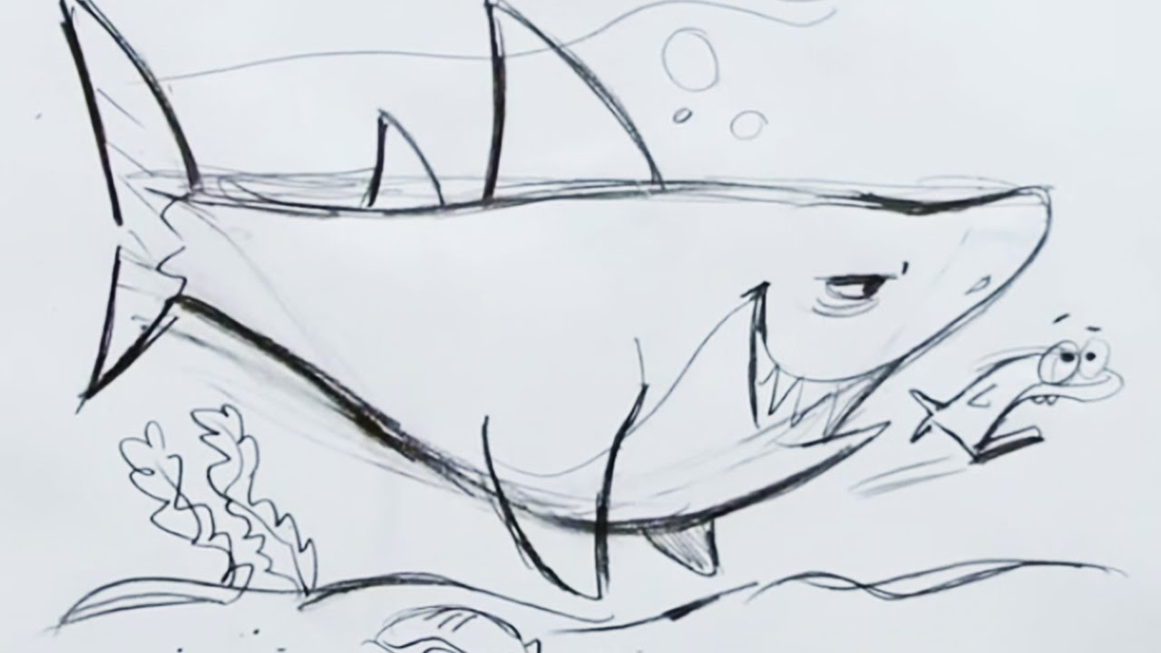 Uncategorized How To Draw A Tiger Shark how to draw a cartoon shark step by youtube