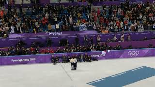 Pyeongchang Winter Olympics 2018 victory ceremony - Men's figure skating - fan cam
