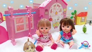 メルちゃんのお家に雪がふりました 雪を作れる粉遊び / It's snowing in Mell-chan Doll House : Instant Snow