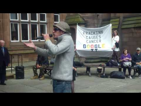 Gadget talks about Fracking outside Barclays Chester