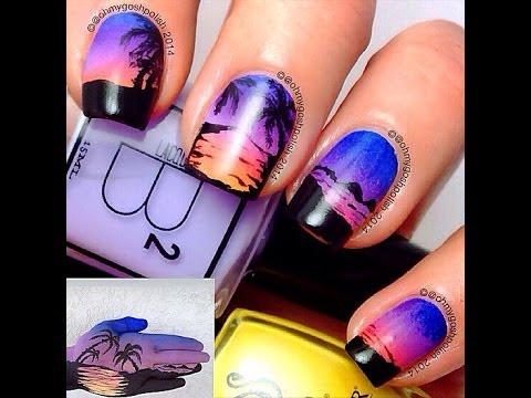 Sunset nail art - YouTube