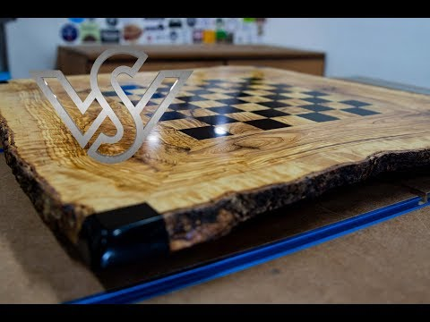 epoxy resin live edge table with chessboard design part 1