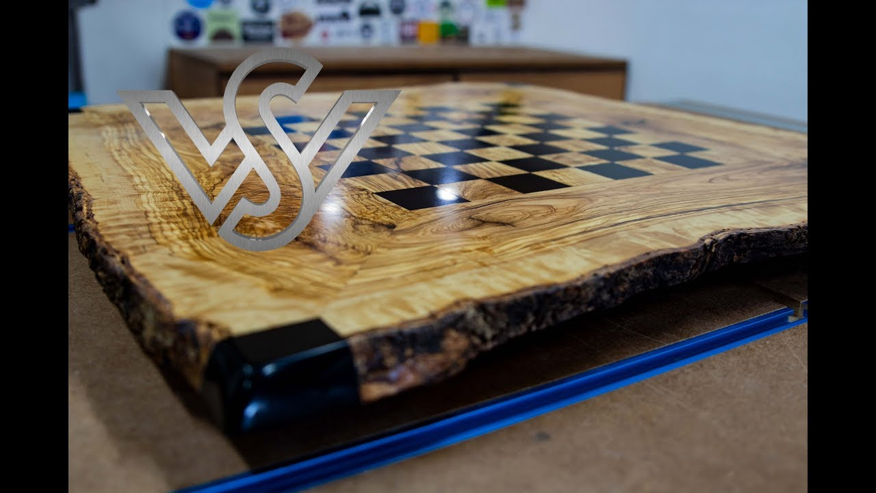 epoxy resin live edge table with chessboard design part 1  YouTube