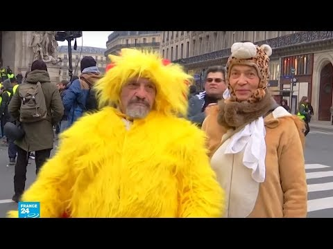 أزياء تنكرية وصدور عارية.. جانب آخر من احتجاجات السترات الصفراء في فرنسا  - نشر قبل 3 ساعة