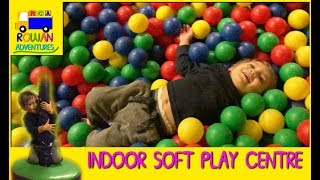 Rowan plays at fun indoor jungle soft playground and ball pit