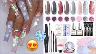 NEW MODELONES POLYGEL KIT! Black Friday Sale! Cracked Ice Snowflake Glitter Glass Nail Art Design❄️