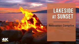 Virtual Campfire by Lake at Sunset, 2 Hours in Ambience 4K -  Peaceful Relaxation & Meditation