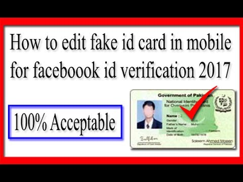How to edit fake id card in mobile for Faceboook id verification 2017 {100% Acceptable} YouerTricks