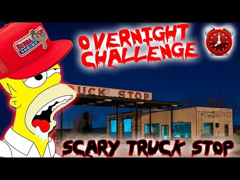 (SAFE FOUND) OVERNIGHT CHALLENGE ABANDONED TRUCK STOP // OVERNIGHT CHALLENGE IN A SCARY PLACE