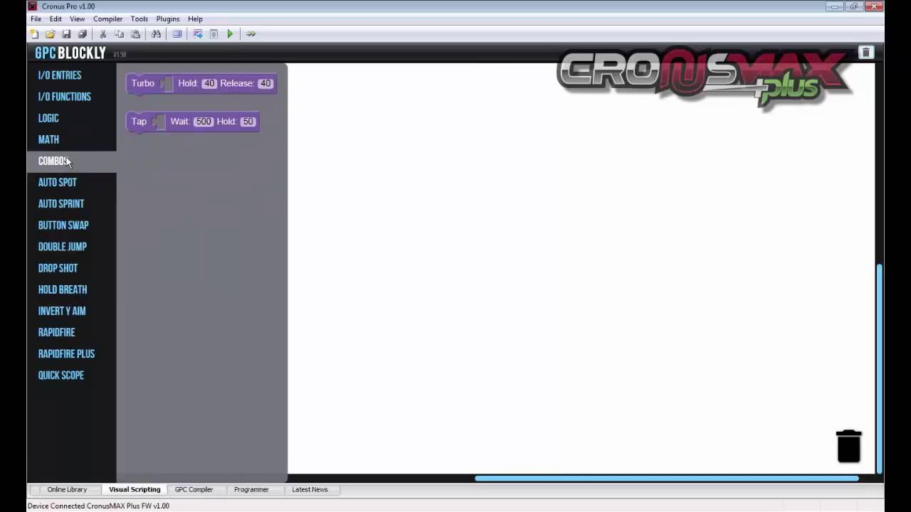 Cronus Pro - Visual Scripting with GPC Blockly