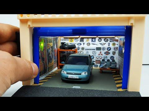 Гараж для машинок моделек свет на солнечных батареях с подъемными воротами ! Про машинки !