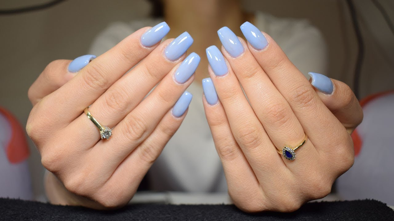Gel Nails Refill Baby Blue Nails Beautybydianaandreea Youtube