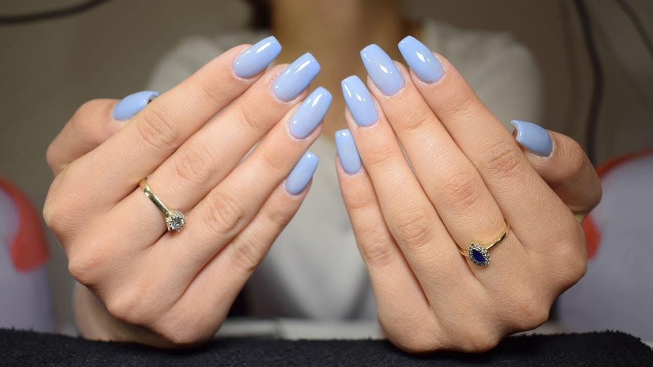 Gel Nails Refill - Baby Blue Nails | BeautybyDianaAndreea - YouTube
