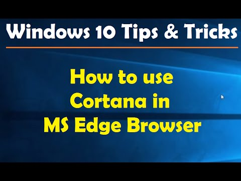 How to use Cortana in MS Edge Browser