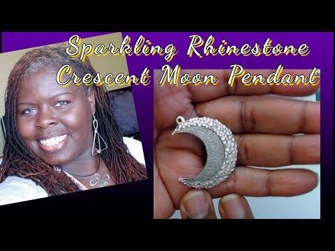 DIY | Sparkling Crystals | Rhinestone Crescent Moon Pendant Necklace