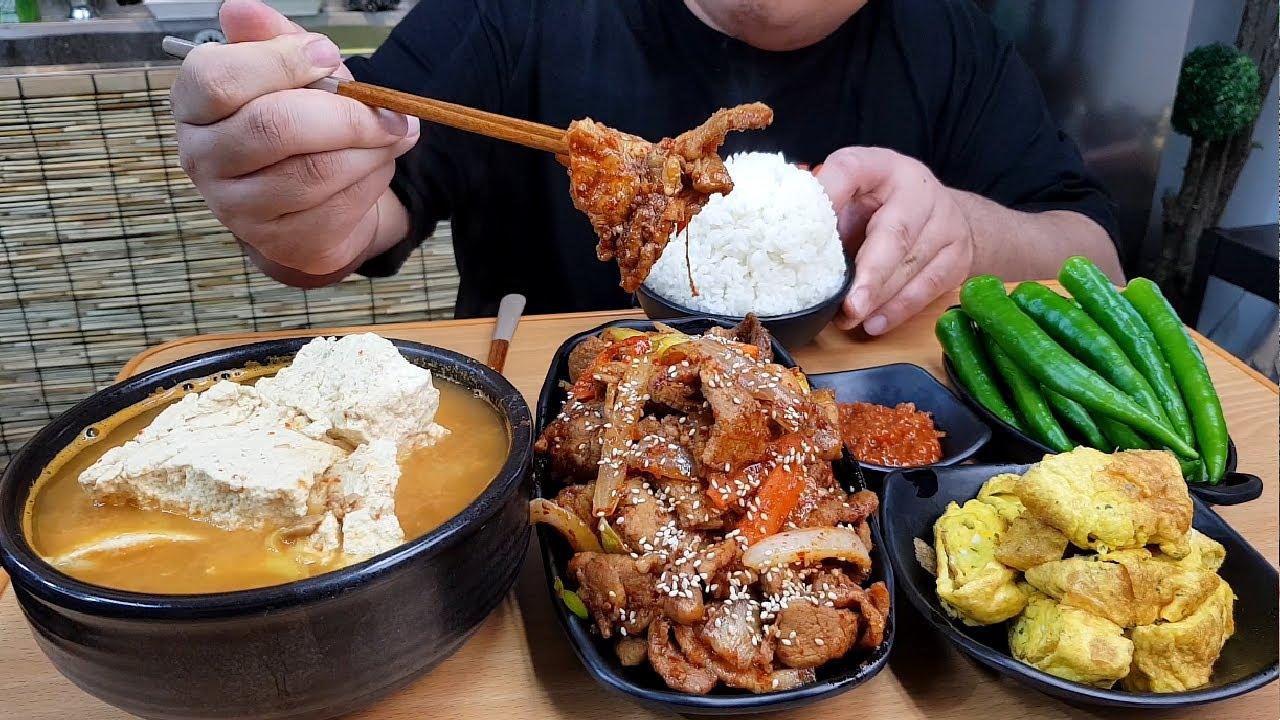 한식먹방 제육볶음+손두부청국장+계란말이+풋고추 요리MUKBANG