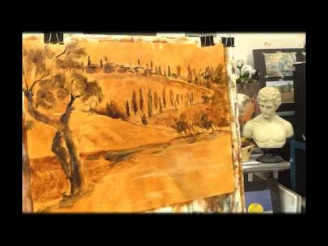 Tuscany landscape – oil painting demonstration (part-1) by Alessandro Giambra