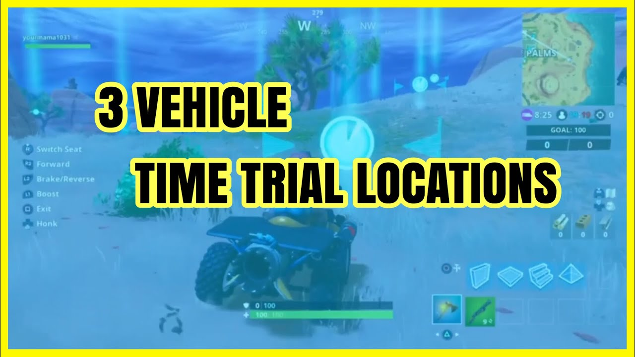 Fortnite Complete 3 Vehicle Time Trials Locations Guide Youtube