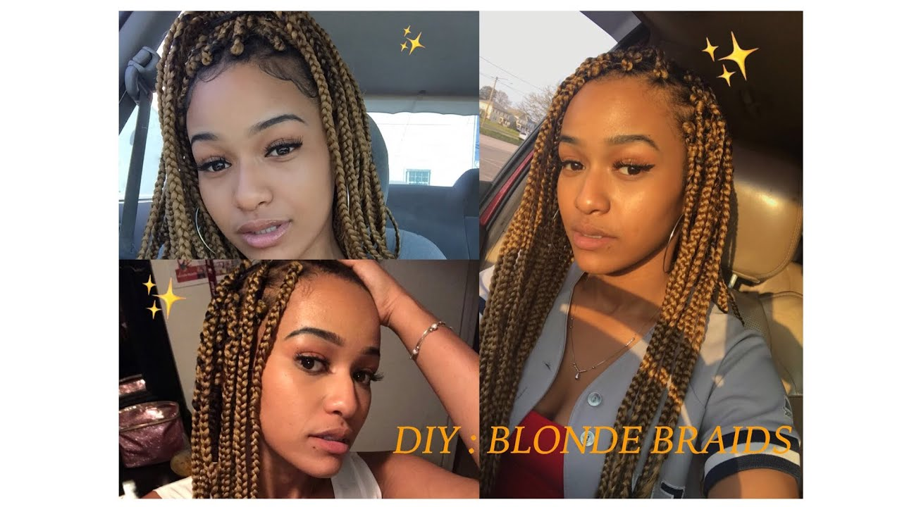 How To Honey Blonde Braids Easy Natural Hairstyle Youtube