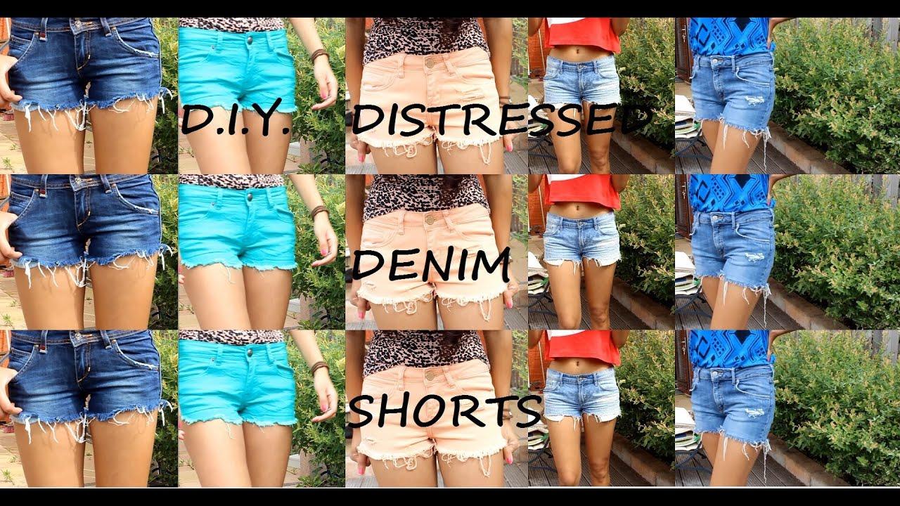 DIY Distressed Denim Shorts ~ LOOKBOOK - YouTube