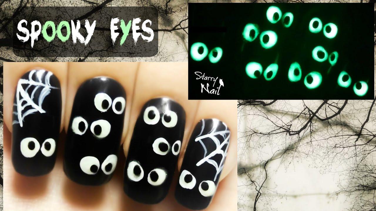 Easy Halloween Spooky Eyes ⎮Glow in the Dark Freehand Nail Art ...