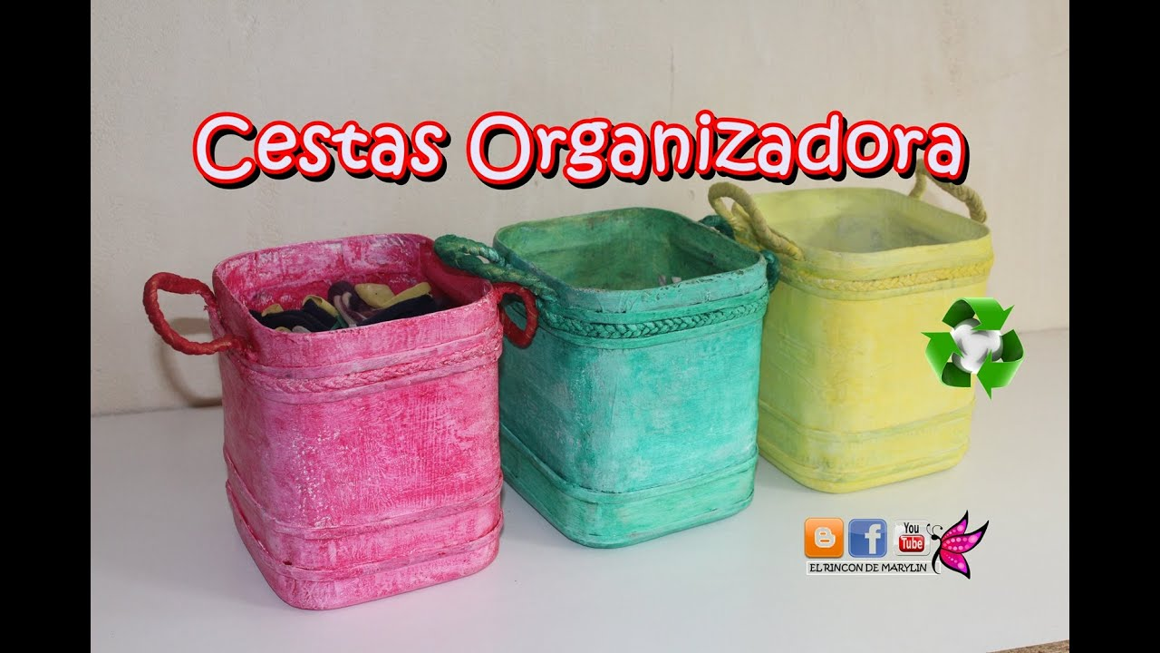 Como hacer cestas organizadoras con garrafa de plastico - Como hacer manualidades faciles ...