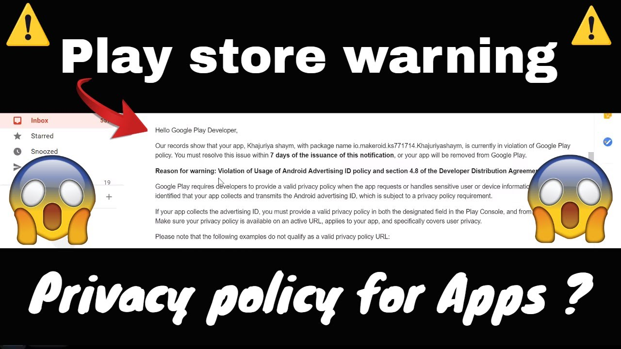 Playstore warning 😱 Privacy policy Makeroid/Thunkable Android Apps 🔥