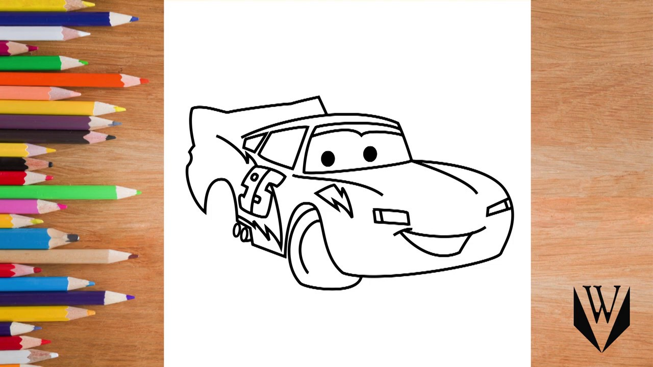 Как нарисовать Автомобили Маккуин McQueen, шаг за шагом ...