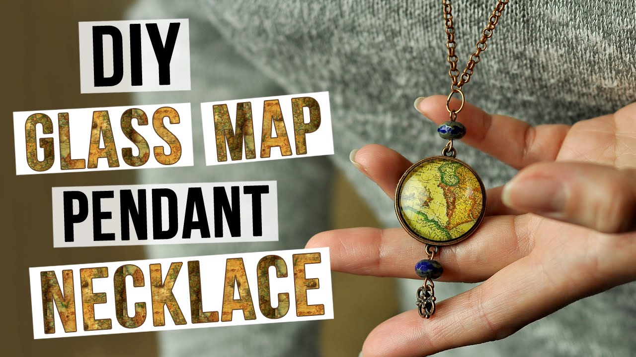 Diy glass map pendant necklace youtube diy glass map pendant necklace mozeypictures Images