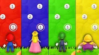 Mario Party 9 - Minigames - Mario vs Luigi vs Peach vs Wario (Master CPU)