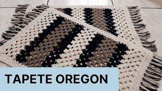Tapete Oregon em Crochê – Azul Marinho e Bege