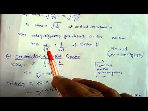 Derivation of gas laws from Kinetic Equation Lecture Note-18 Class XI  Chemistry