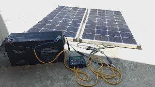 2 Tấm pin mặt trời 150w mono sạc cho bình ắc quy 12V 150Ah