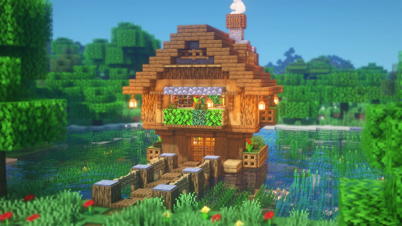 Minecraft: How to Build a Lake House | Simple Survival Lake House Tutorial
