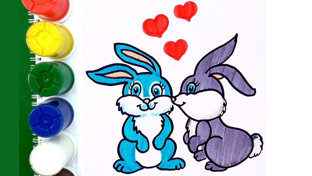 Como Dibujar Y Colorear Conejos Enamorado Con Corazón