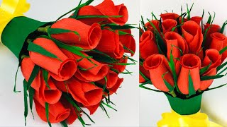 Simple And Beautiful Paper Flowers -  Rose Flower - Paper Craft - Home Decor - DIY Flower Bouquet