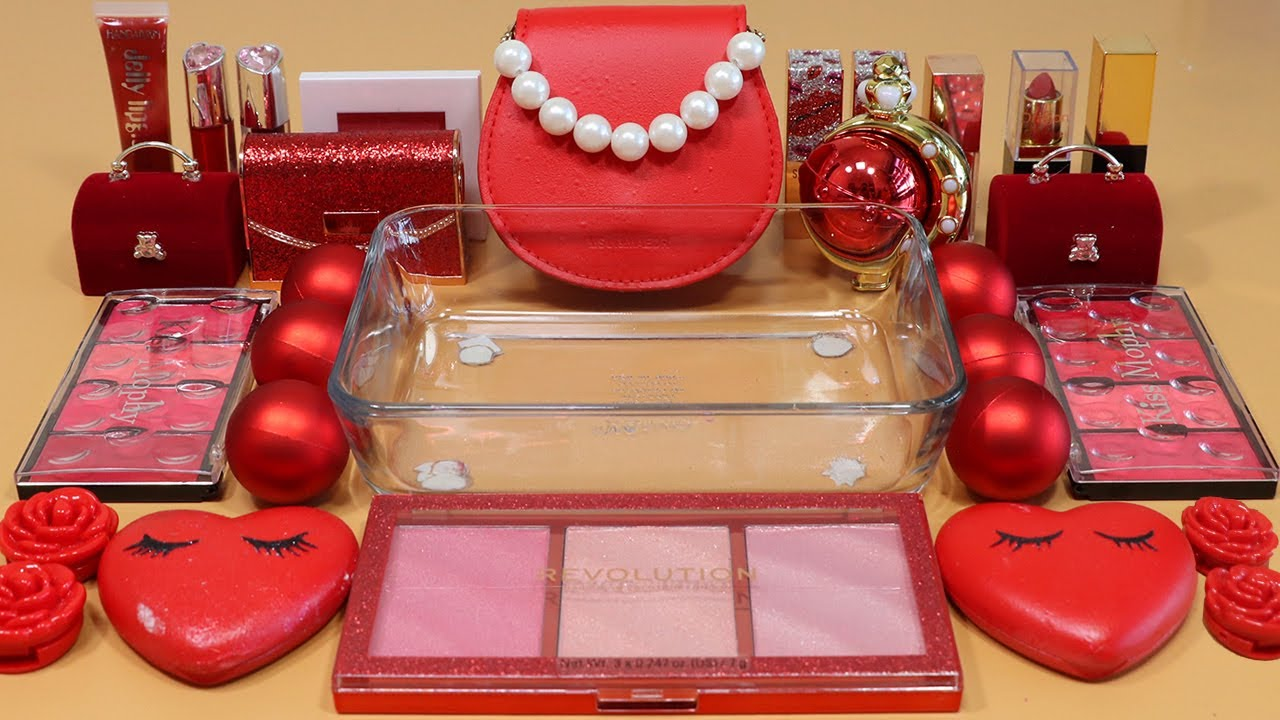 """Mixing""""Red"""" Eyeshadow and Makeup,parts,glitter Into Slime!Satisfying Slime Video!★ASMR★"""