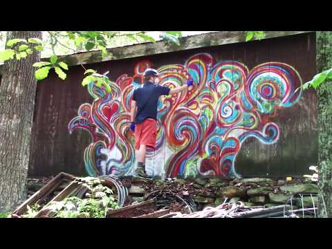 Spray Paint Swirl Art on a Wall (Graffiti? Doodling with Spray Paint)