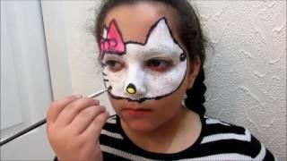 Hello Kitty Face Painting- Halloween custom رسم على الوجه هيلو كيتي