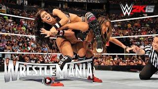 wwe wrestlemania 31 aj lee paige vs the bella twins full match wwe 2k15