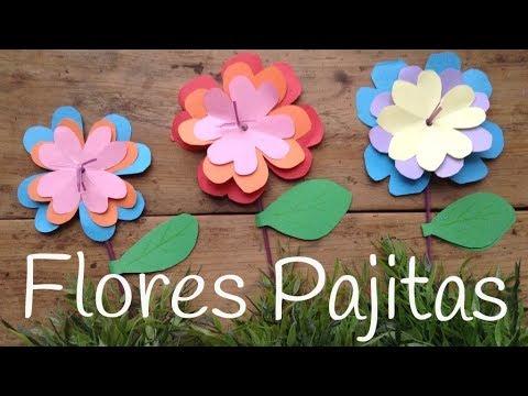 Flores de papel de colores paso a paso