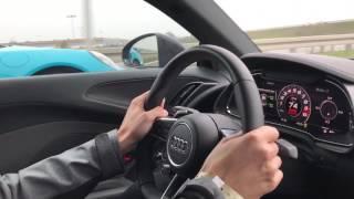 German autobahn r8 v10 plus vs 911 turbo s