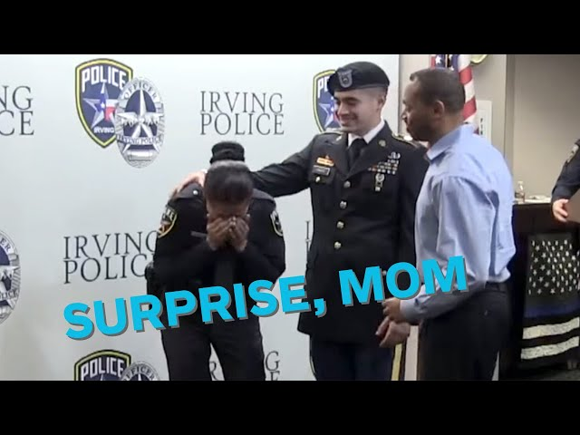 Soldier surprises his mom at her police swearing-in ceremony