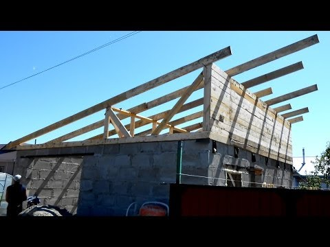 Как сделать односкатную крышу видео