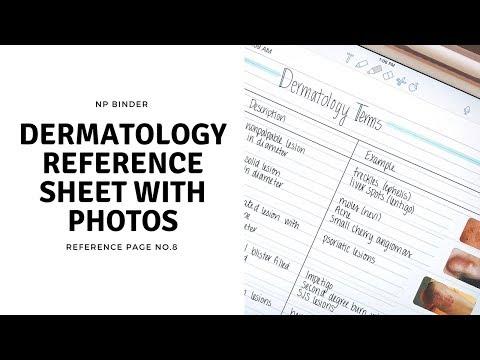 DERMATOLOGY TERMS Free NP Binder Reference Sheet YouTube