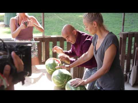 Man Smashes Watermelons With His Head