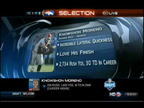 The Denver Broncos Select Knowshon Moreno at #12 in the 2009 NFL draft
