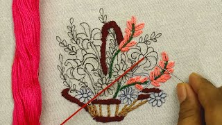 learn Brazilian Embroidery Stitches with a beautiful flower basket embroidery design step by step