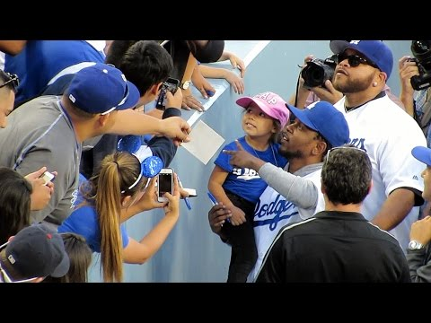 Kendrick Lamar Hangs with Fans @Dodgers 4-27-15